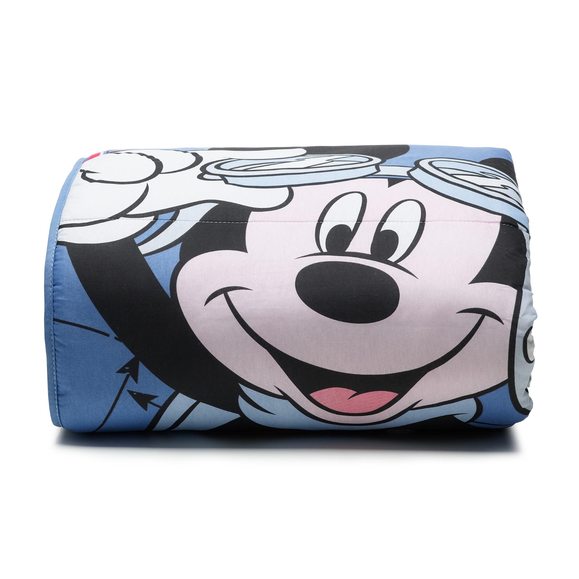 Edredom Infantil Mickey Aviador 100 Agodao Azul Deni 150x220 cm