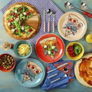 Prato Raso Redondo em Cerâmica Pizza Azul 26cm - Oxford