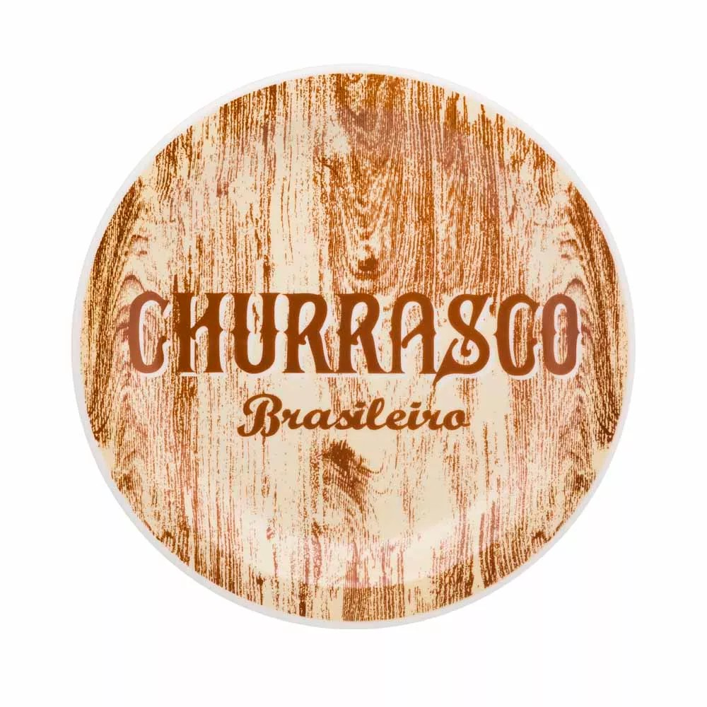 Prato Raso Redondo em Ceramica Churrasco Brasileiro Amarelo 26cm - Oxford