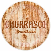 Prato Raso Redondo em Cerâmica Churrasco Brasileiro Amarelo 26cm - Oxford