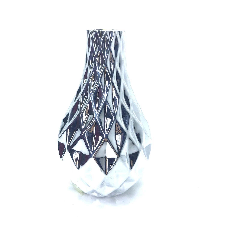 Enfeite Vaso 15 cm de Porcelana Prata - Bras Continental