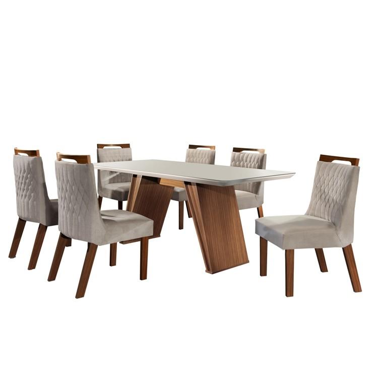 Conjunto de Mesa 180 x 90 cm Atena Com 6 Cadeiras Branco - LJ Moveis