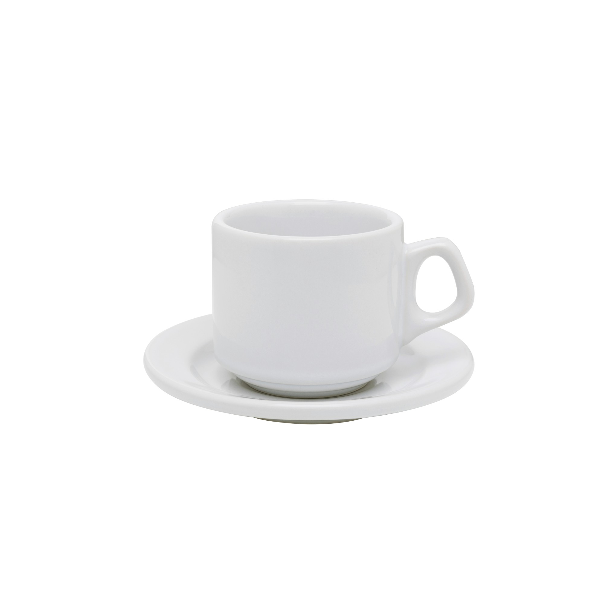 Xicara de Cha Ceramica 180ml com Pires Branca Vitramik - Oxford