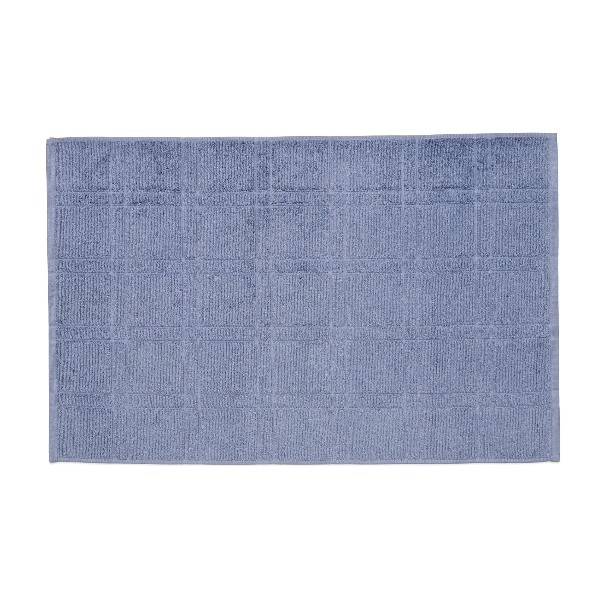 Toalha de Piso Santista Square Felpuda 50x80 cm Antiderrapante 100 Algodao - Azul
