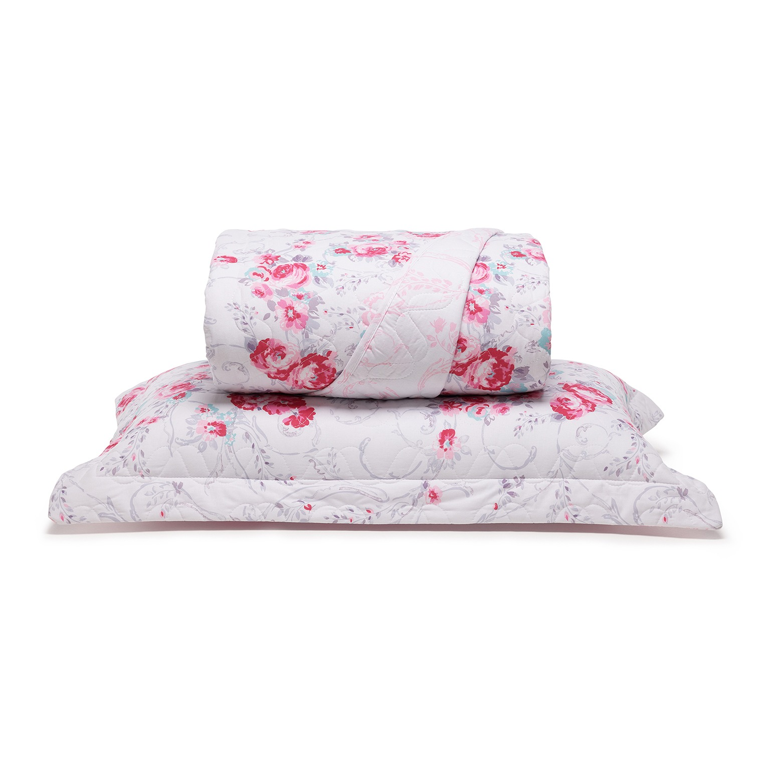 Cobre Leito Solteiro com Porta Travesseiro Valentina Rosa - Santista