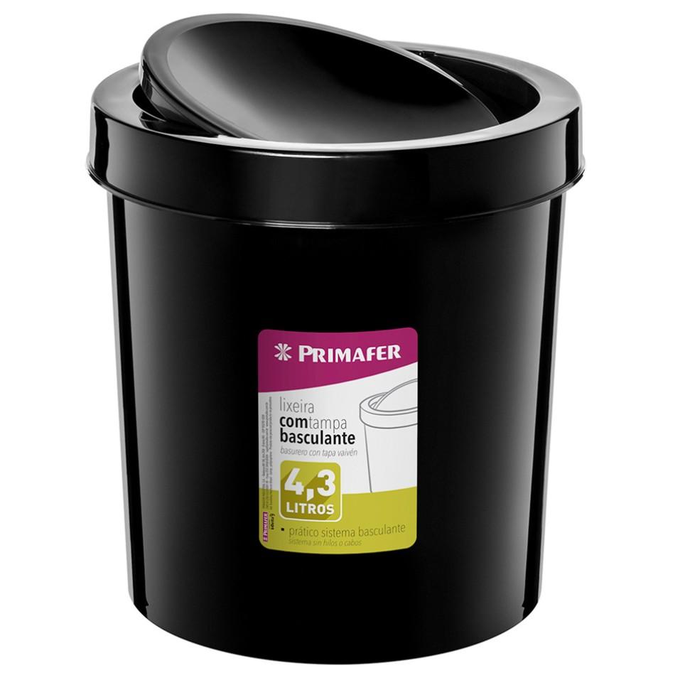 Lixeira para Pia Plastico 43L Preta PR1017 - Primafer