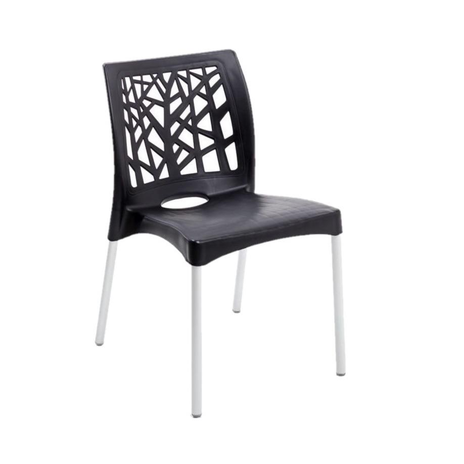 Cadeira com Pernas de Aluminio Nature Preta em Polipropileno - Forte Plastico