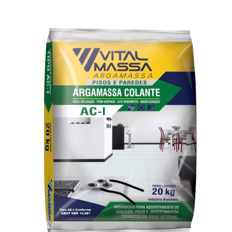 Argamassa ACI Ceramica Interno 20Kg Cinza - VitalMassa
