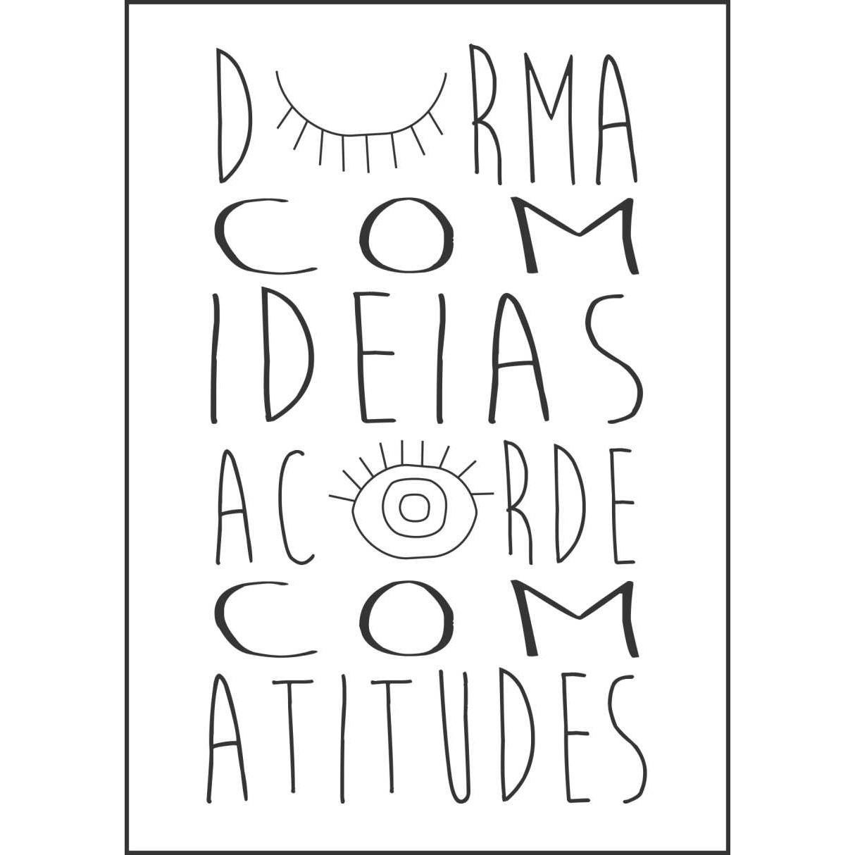 Placa Decorativa em MDF 30x20cm Durma com Ideias Acorde com Atitudes67994 - Kapos
