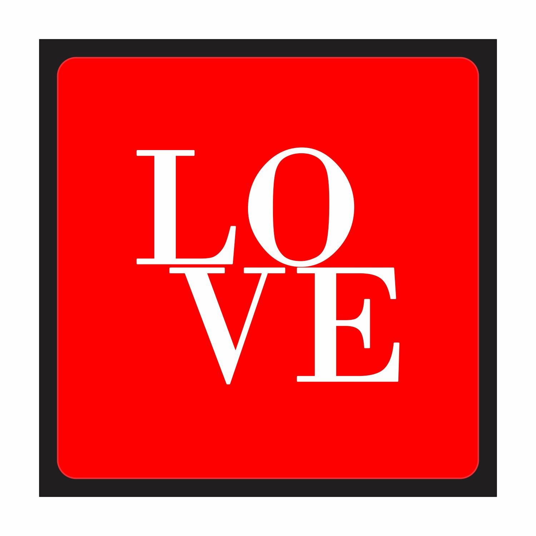 Placa Decorativa em MDF 25x25cm Love Vermelho 67875 - Kapos