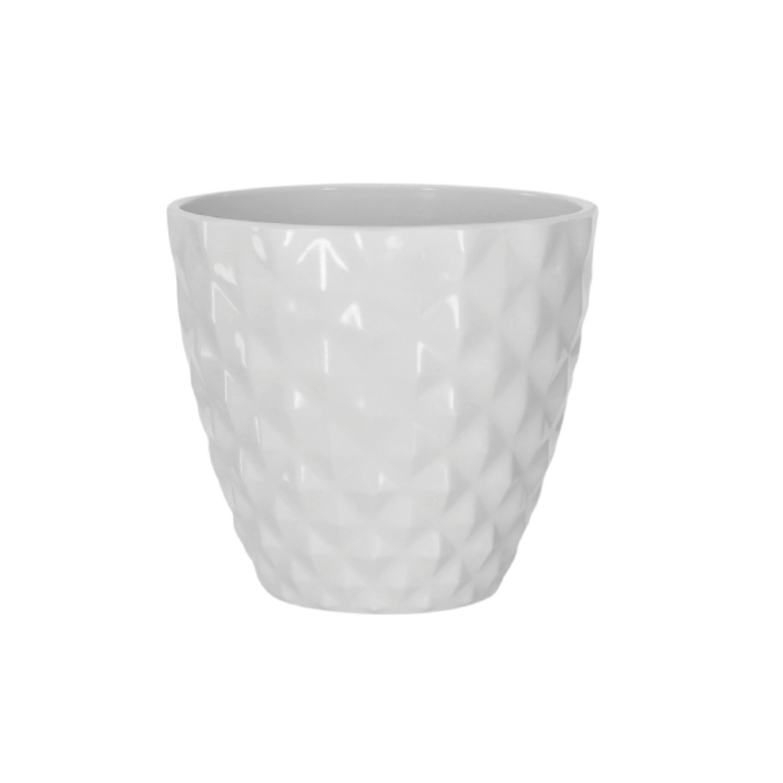 Cachepot Ceramica Redondo 12cm Branco - Dea