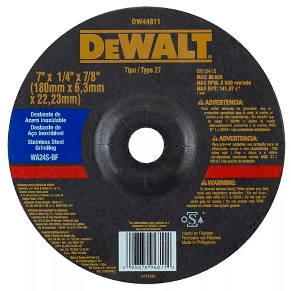 Disco de Desbaste Metal e Aco Inox 7x14x78 180x63x2223mm - DeWalt