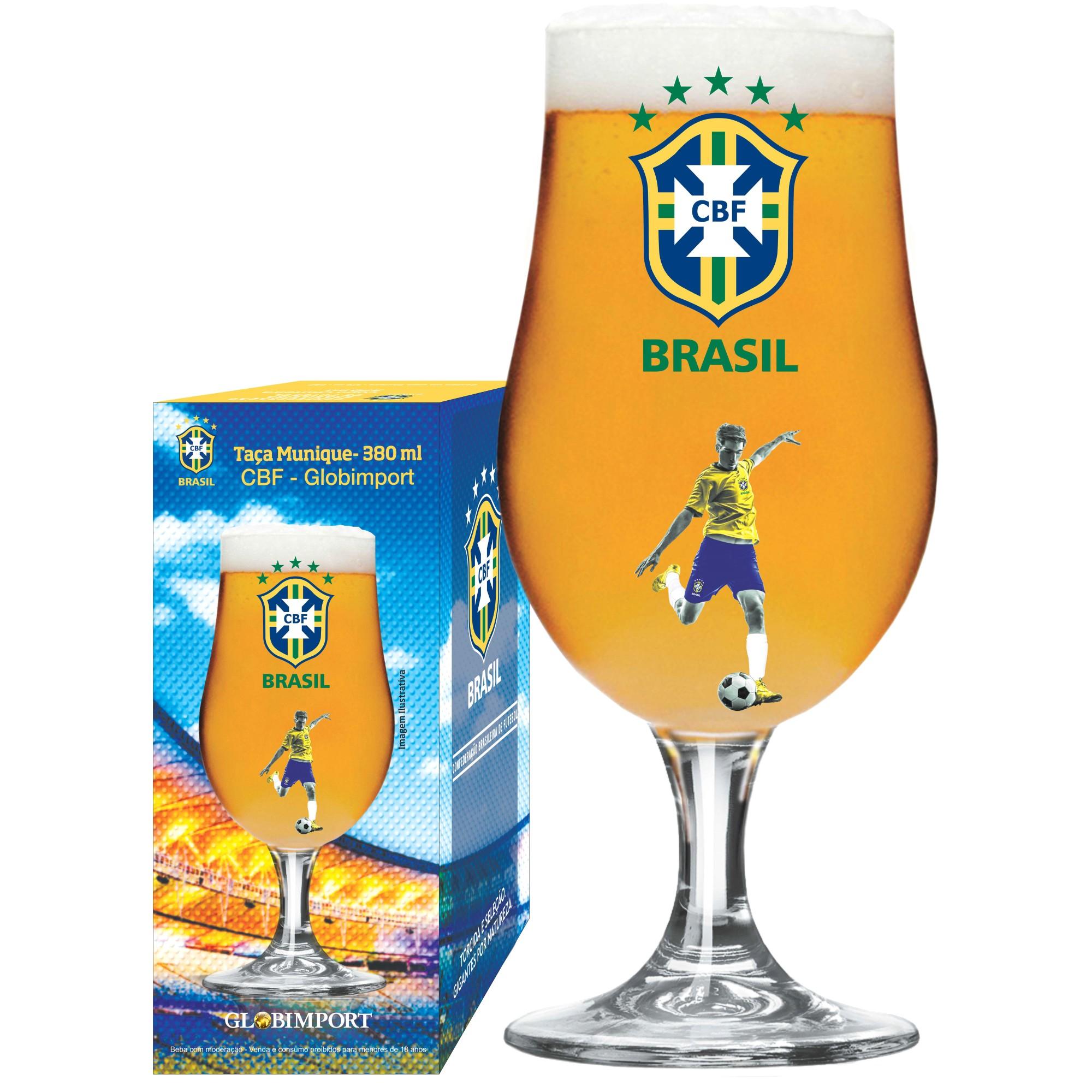 Taca de Cerveja Vidro 380ml Transparente Jogador CBF - Globimport