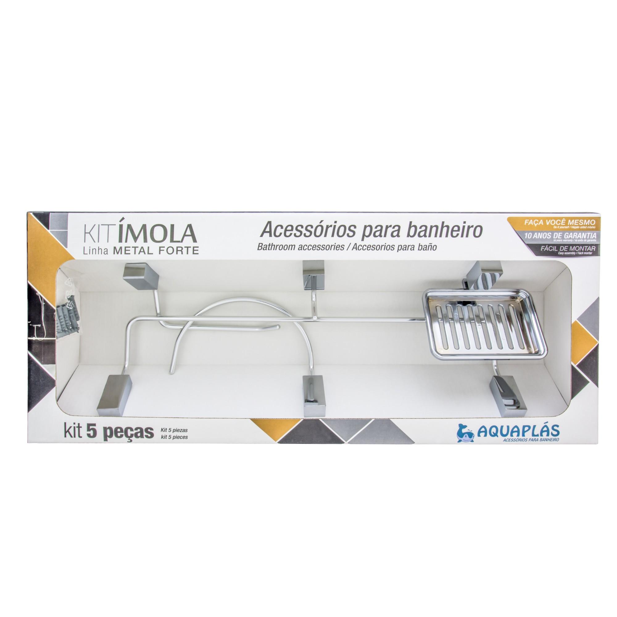 Kit De Acessorios para Banheiro de Parede Metal 5 Pecas Prata - Imola Aquaplas