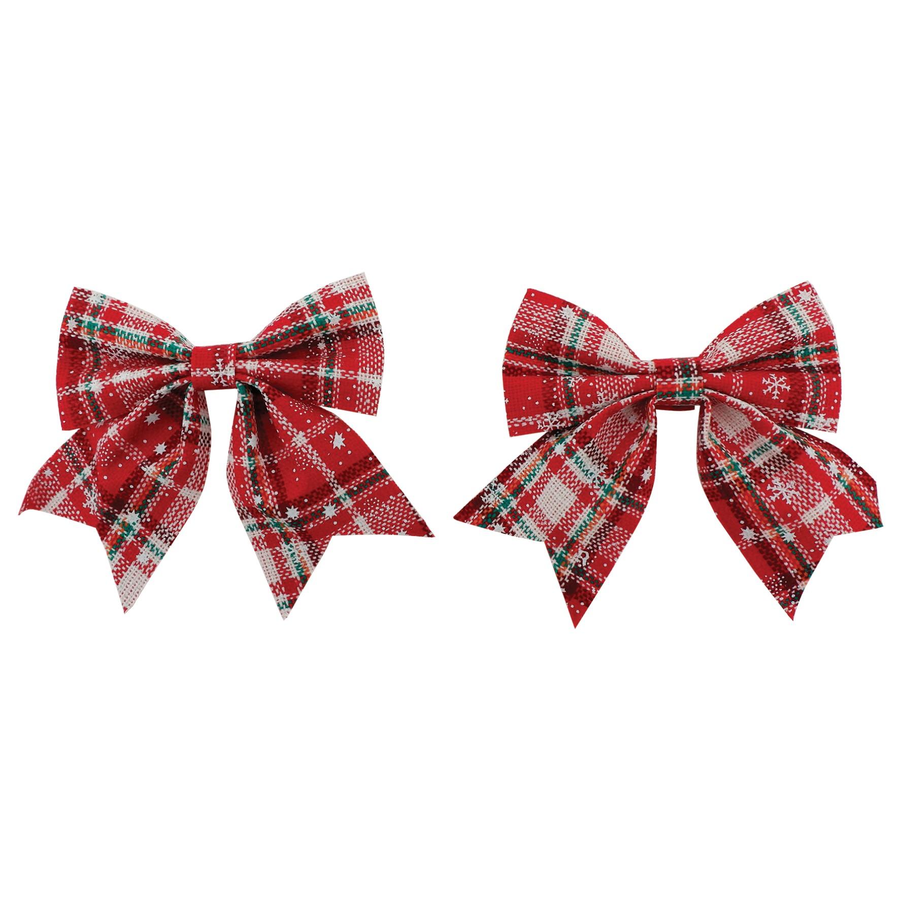 Laco de Natal 13cm Xadrez Vermelho 2 Pecas - Magizi