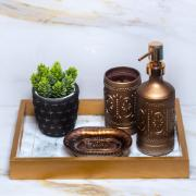 Jogo para Banheiro de Vidro 3 Peças Marrom - Yangzi - 18574