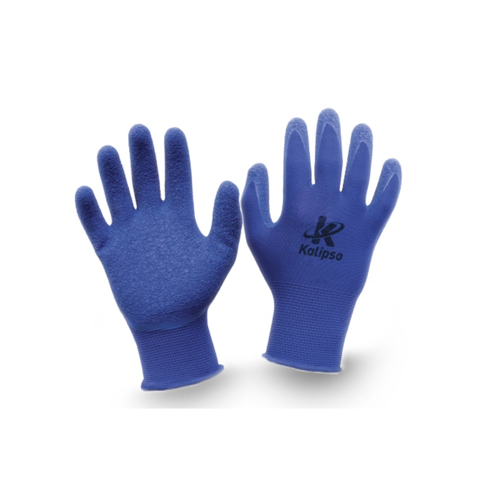 Luva Poliester Emborrachada Blue Flex - Kalipso