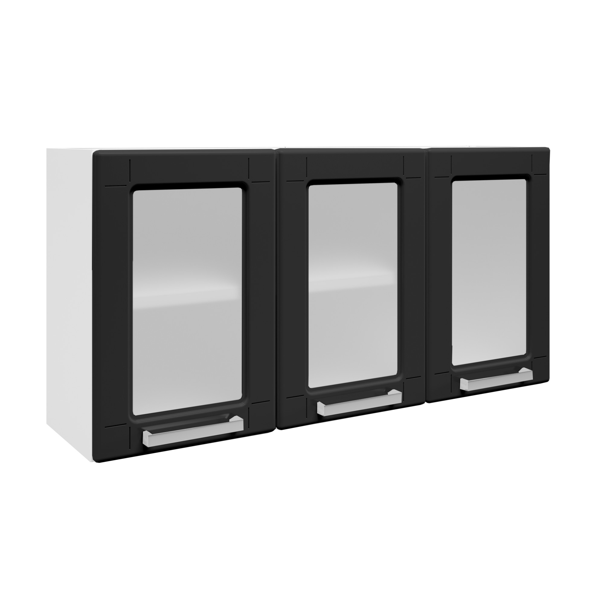 Armario Triplo Medio 3 Portas com Vidro Preto 105cm - Bertolini