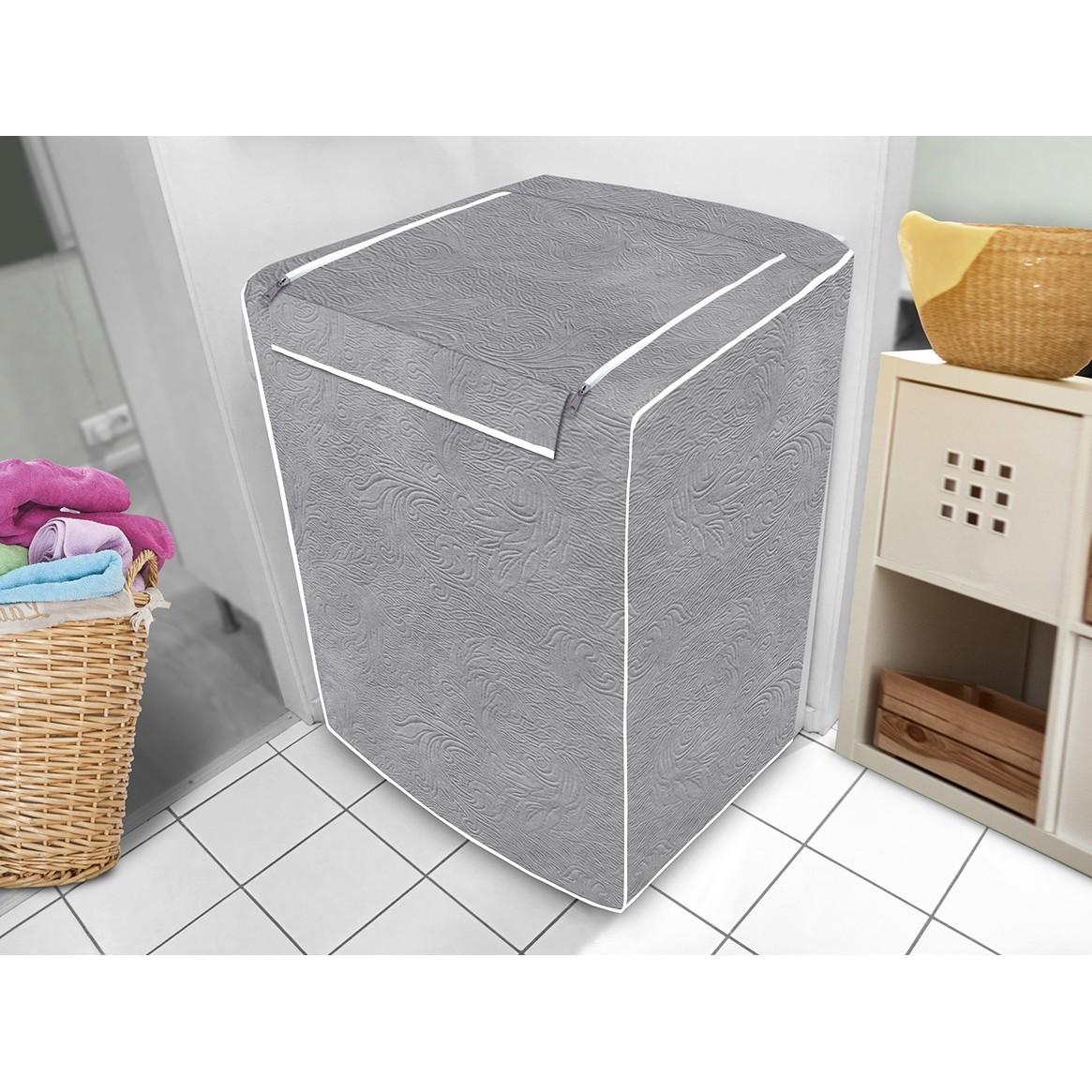 Capa para Maquina de Lavar Cinza 11x34x43cm - Vida Pratika