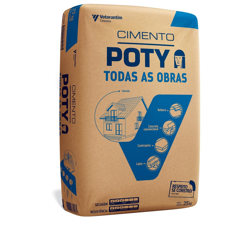 Cimento Todas as Obras CPII-Z32 Saco 25kg - Poty