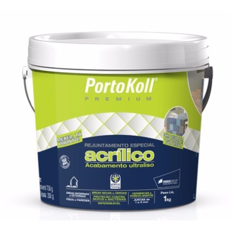 Rejunte Acrilico Cinza Artico Plus Balde 1kg - PortoKoll