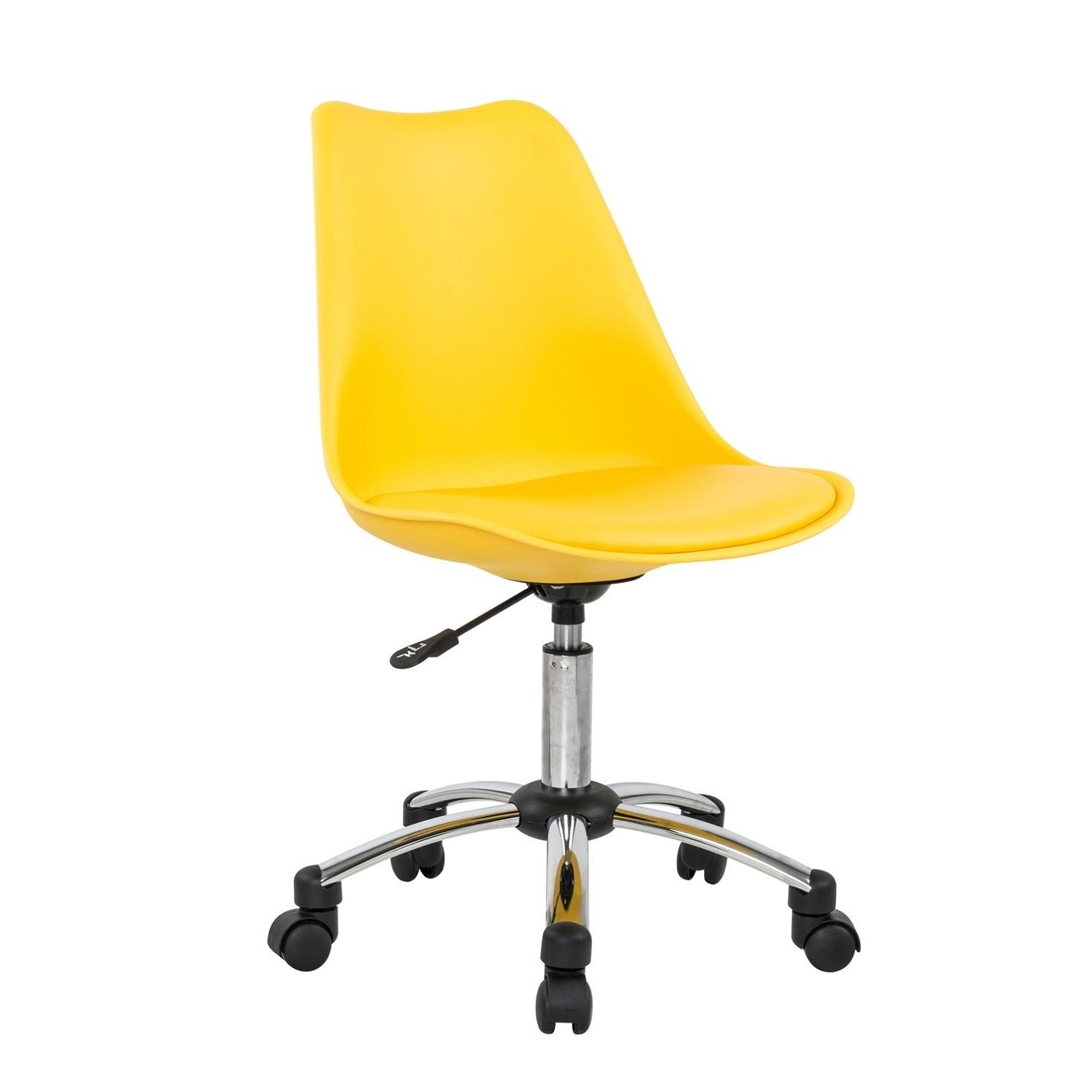 Cadeira Executivo sem Braco com Rodas Plastico Amarelo - Bianchini