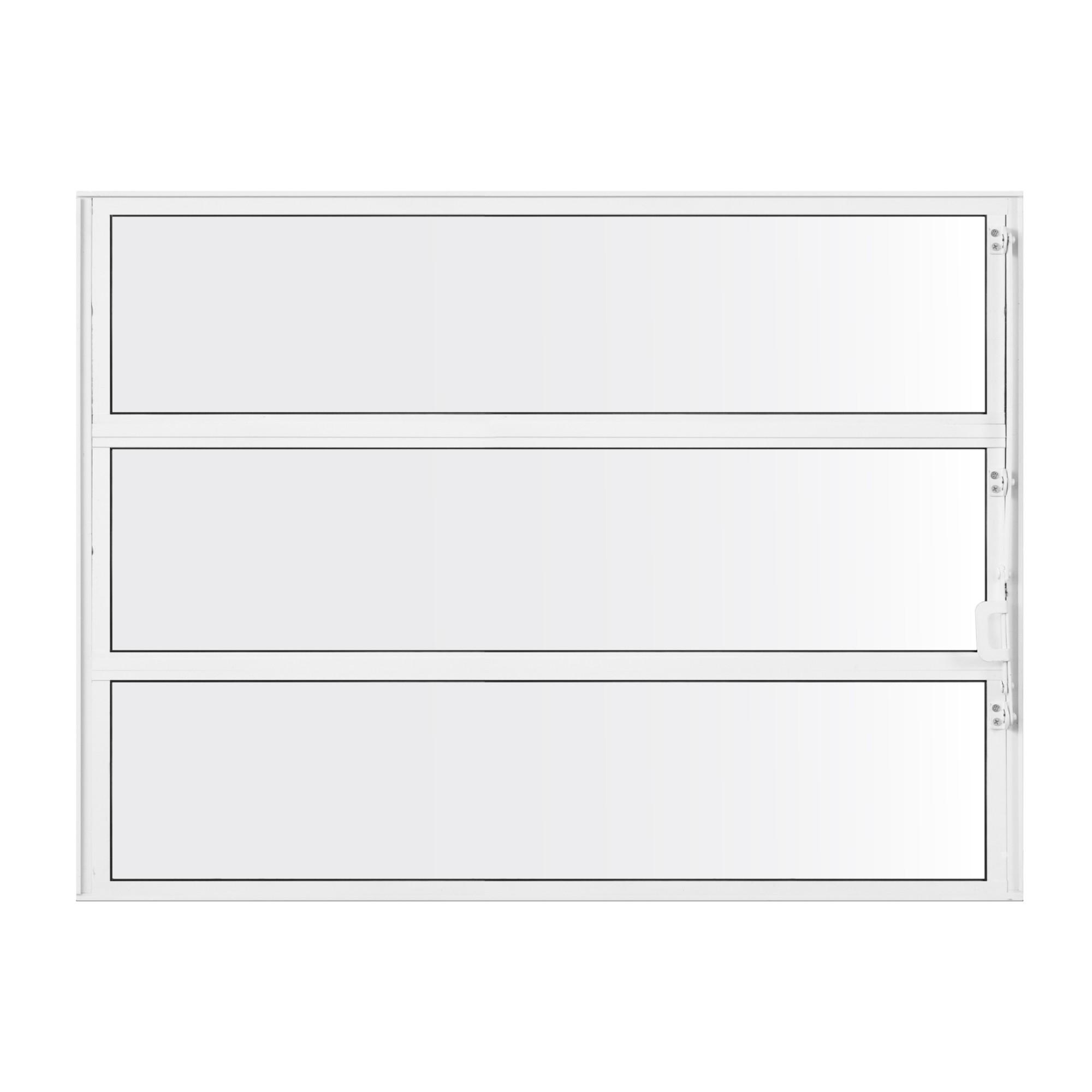 Janela de Abrir Basculante de Aluminio Vidro Liso 60x80 cm Branco - Metalflex Aluvid