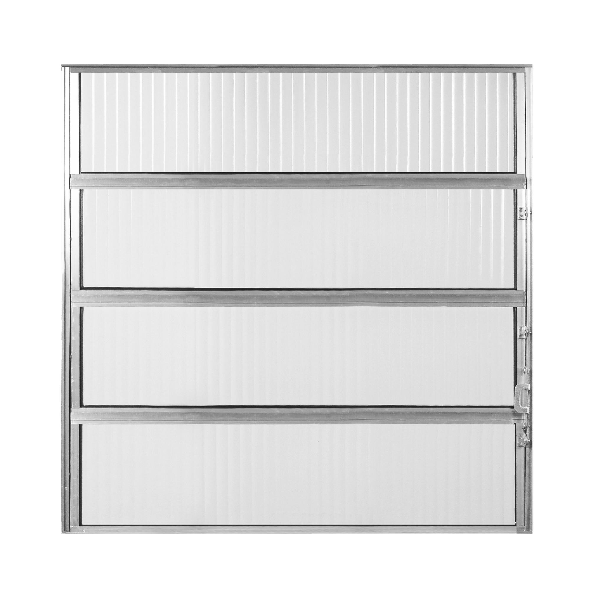 Janela de Abrir Basculante de Aluminio Vidro Canelado 80x80 cm Cinza - Aluvid