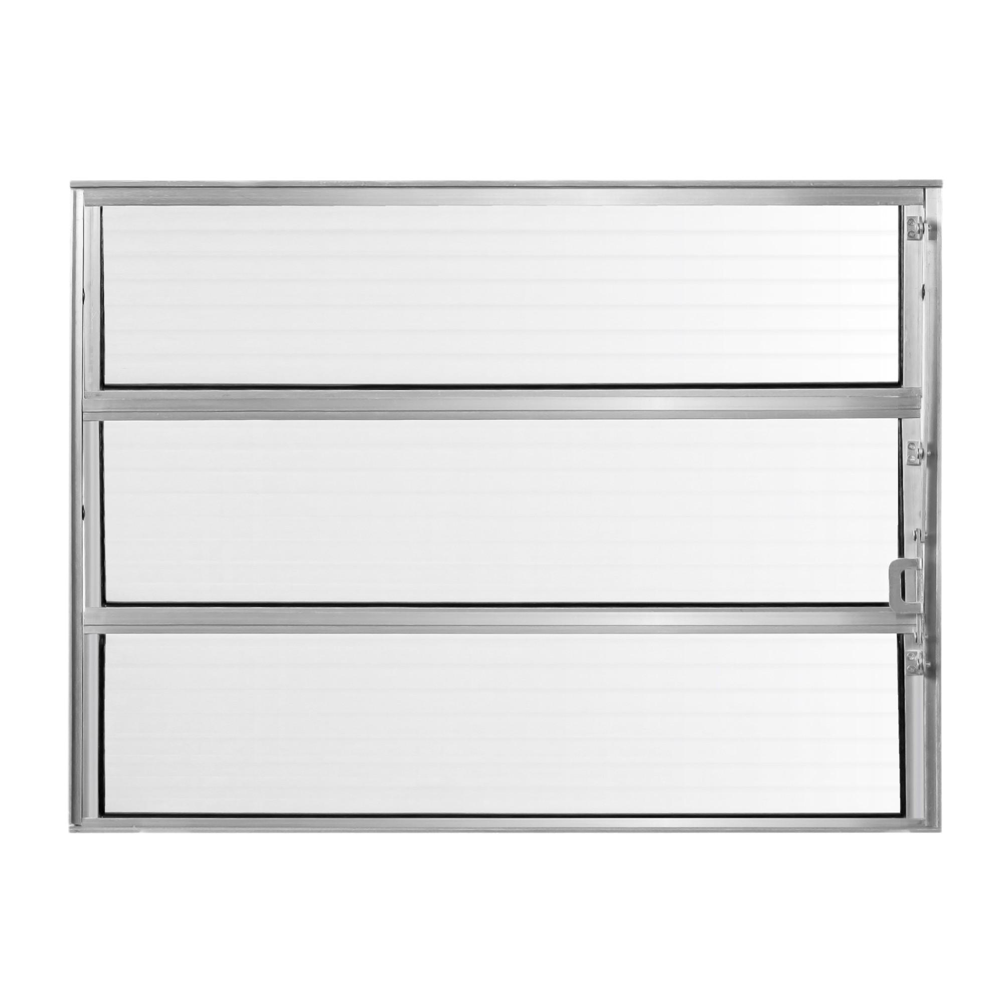 Janela de Abrir Basculante de Aluminio Vidro Canelado 100x100 cm Cinza - Aluvid