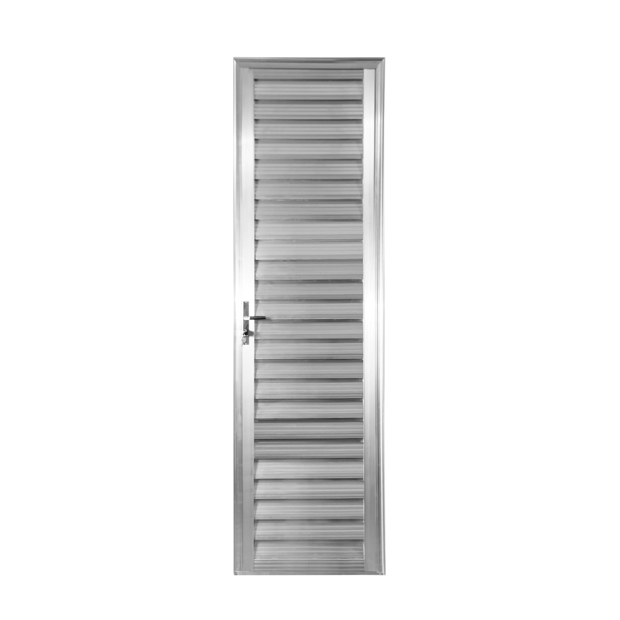 Porta de Abrir de Aluminio 210cm x 60cm Veneziana Lado Direito - Aluvid