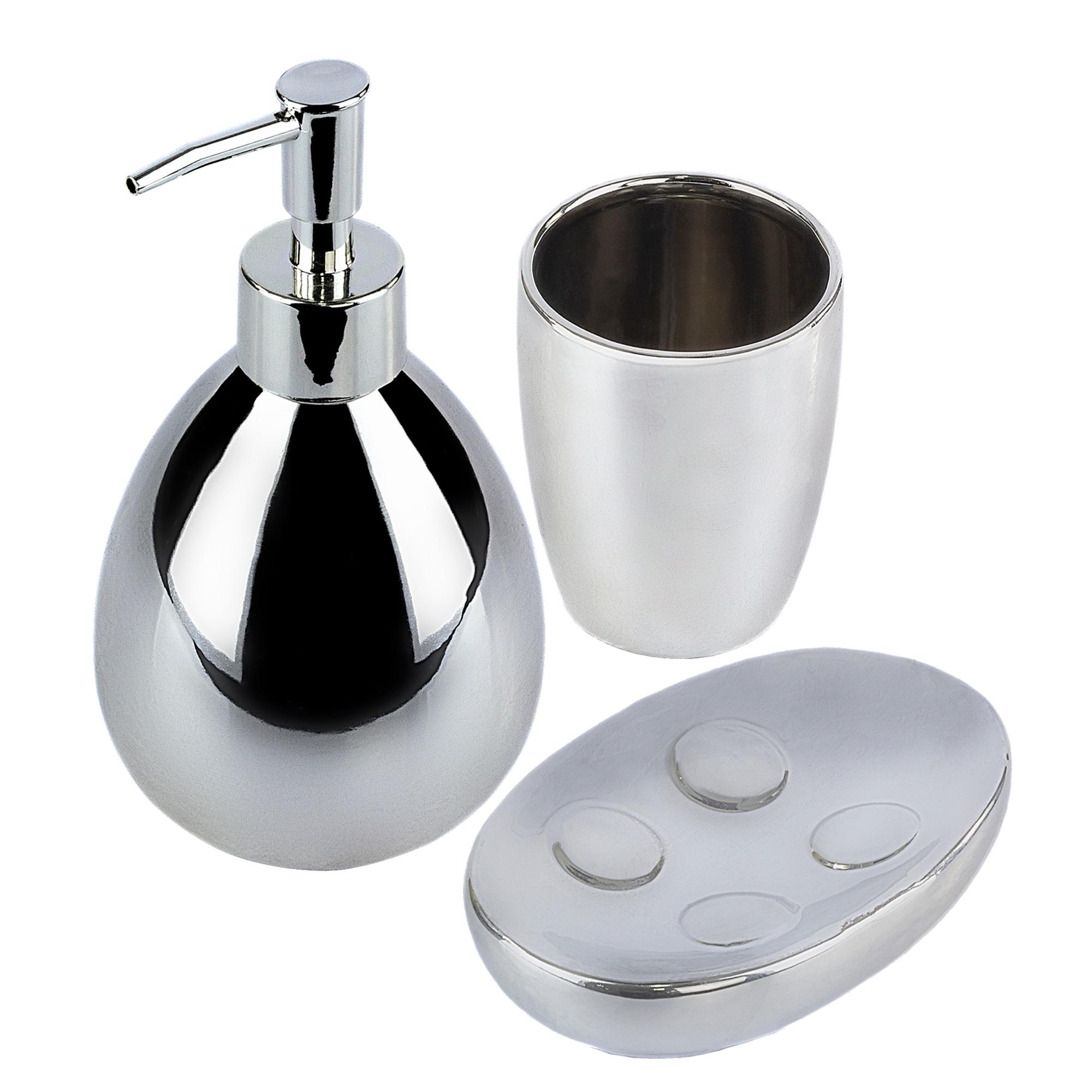 Jogo para Banheiro 3 Pecas em Ceramica 3 Pecas Prata - Bianchini