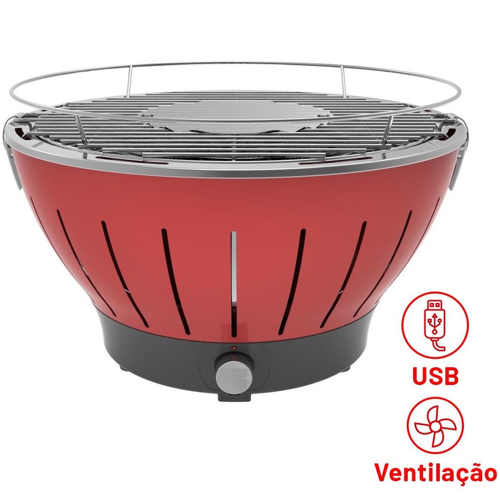 Churrasqueira Portatil a Carvao 4 Pilhas AA ou Cabo USB Vermelha - 01R - Bianchini