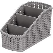 Porta Controle de Plástico com 4 Divisórias Cinza - Bianchini