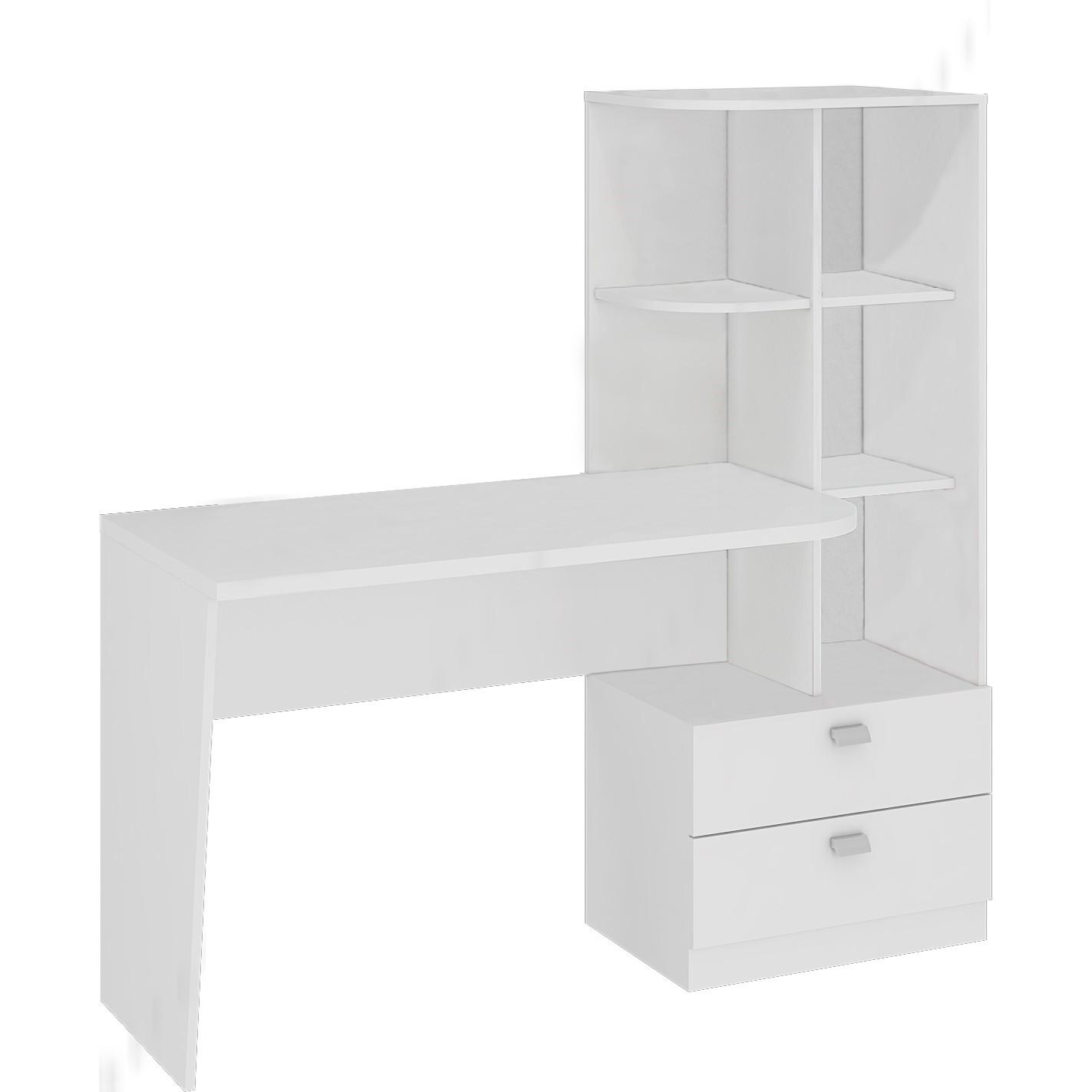 Mesa para Computador 2 Gavetas Elisa Branca 134cm - Permobili