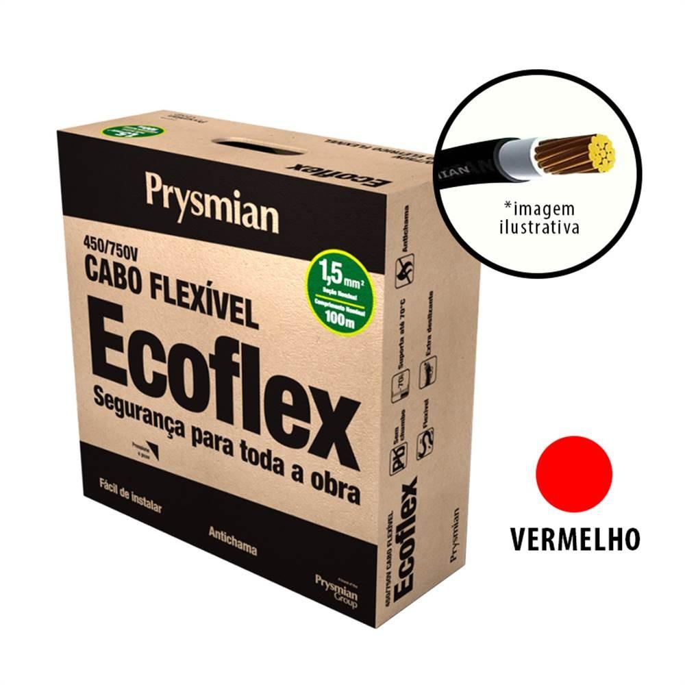 Cabo Flexivel Antichamas Ecoflex 150 mm 100 m 750V 1 Condutor Vermelho - Prysmian