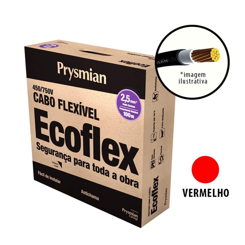 Cabo Flexivel Antichamas Ecoflex 250 mm 100 m 750V 1 Condutor Vermelho - Prysmian