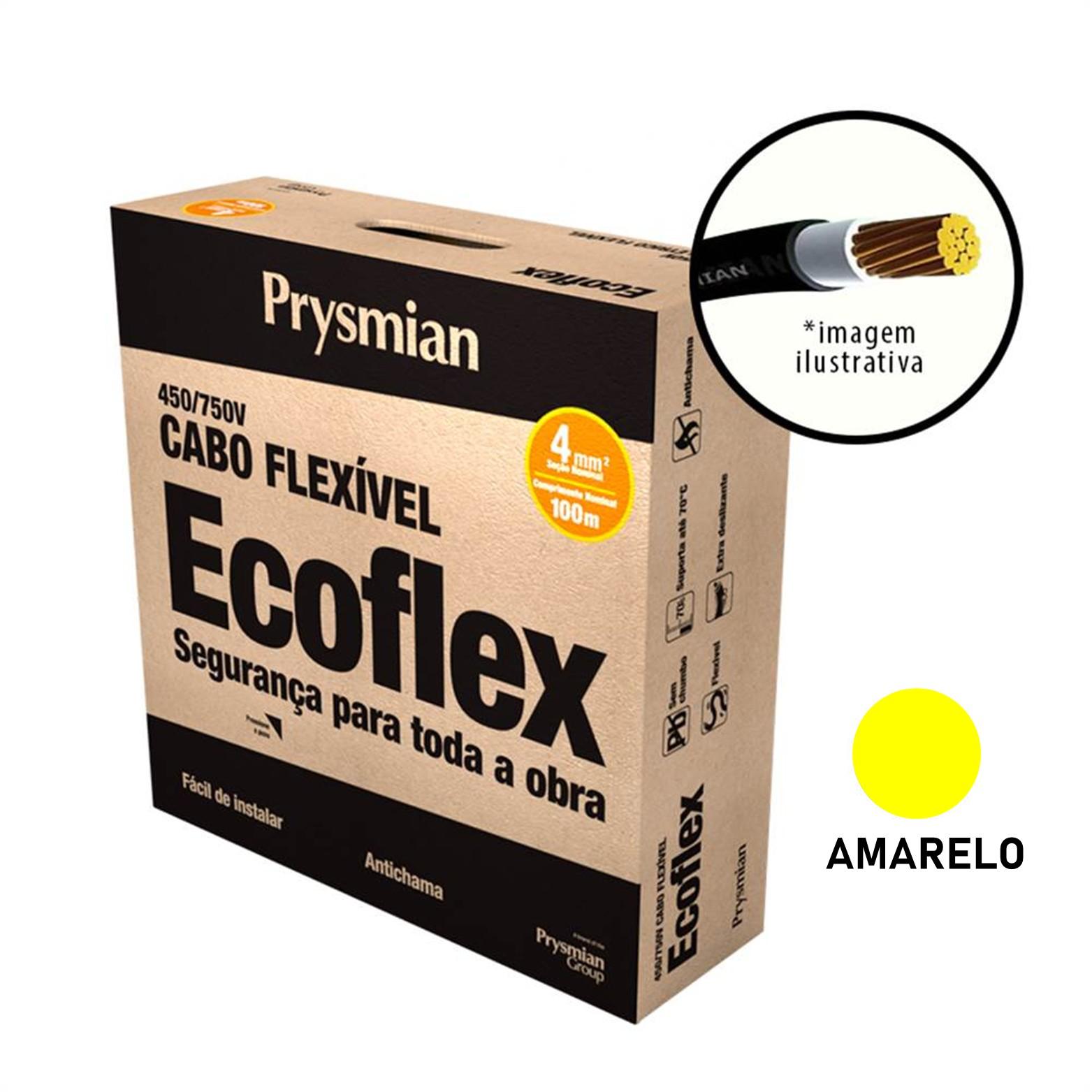 Cabo Flexivel Antichamas Ecoflex 400 mm 100 m 750V 1 Condutor Amarelo - Prysmian