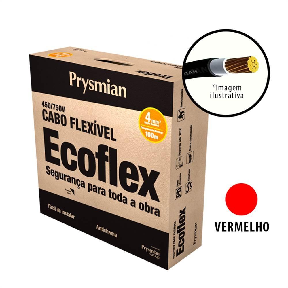 Cabo Flexivel Antichamas Ecoflex 400 mm 100 m 750V 1 Condutor Vermelho - Prysmian