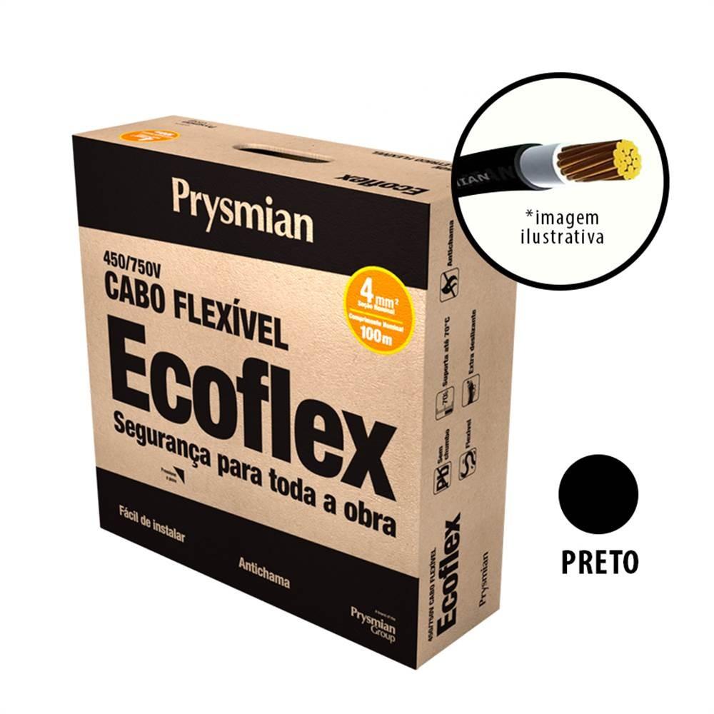Cabo Flexivel Antichamas Ecoflex 400 mm 100 m 750V 1 Condutor Preto - Prysmian