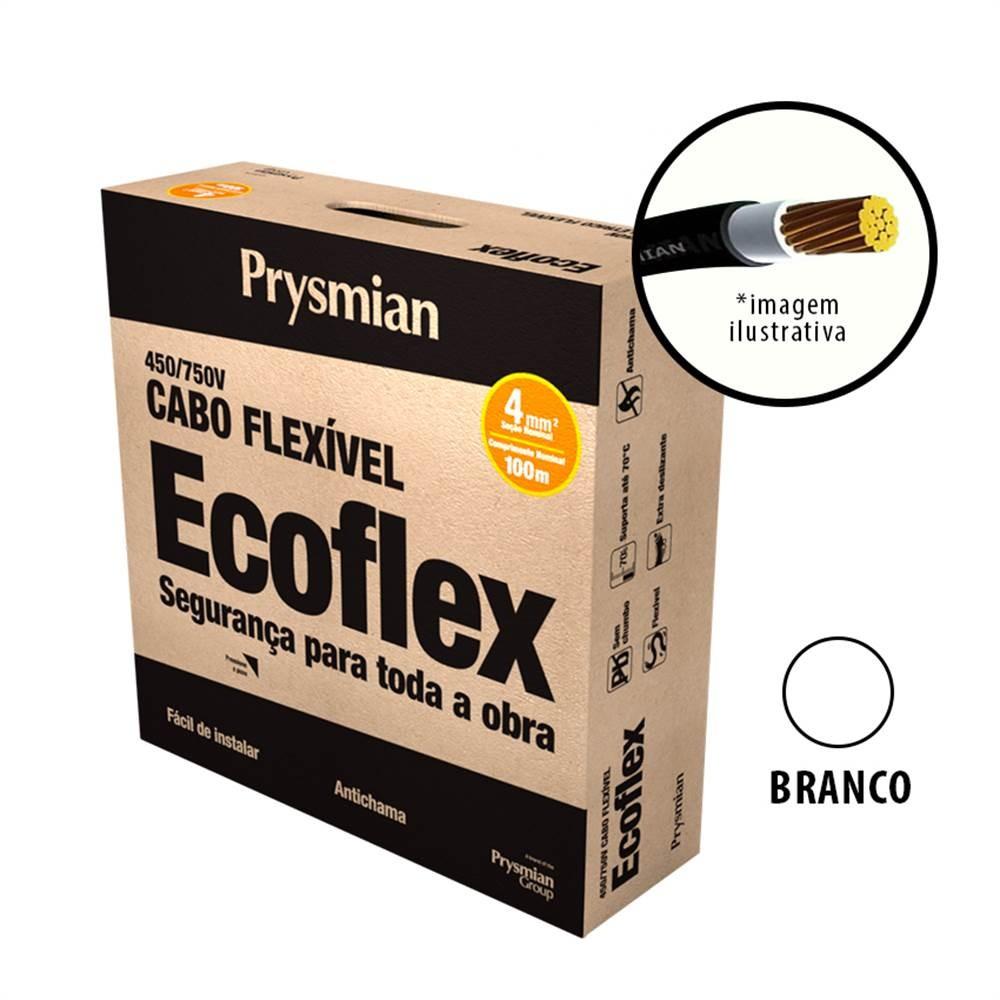 Cabo Flexivel Antichamas Ecoflex 400 mm 100 m 750V 1 Condutor Branco - Prysmian
