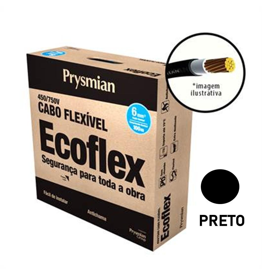 Cabo Flexivel Antichamas Ecoflex 600 mm 100 m 750V 1 Condutor Preto - Prysmian