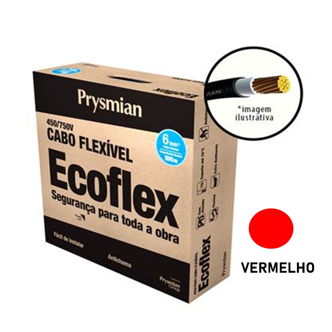 Cabo Flexivel Antichamas Ecoflex 600 mm 100 m 750V 1 Condutor Vermelho - Prysmian