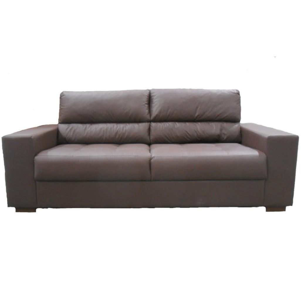Sofa 3 Lugares Couro Sintetico Marrom - Herval