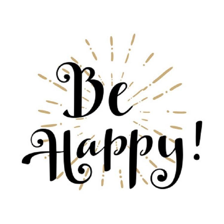 Quadro Decorativo em Canvas 25x25 cm Be Happy - Jolie