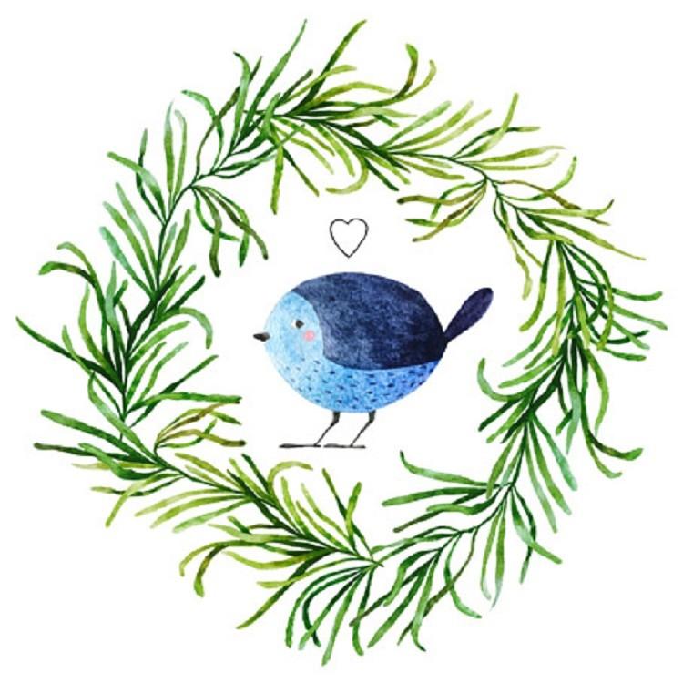 Quadro Decorativo em Canvas 25x25 cm Passarinho Azul - Jolie