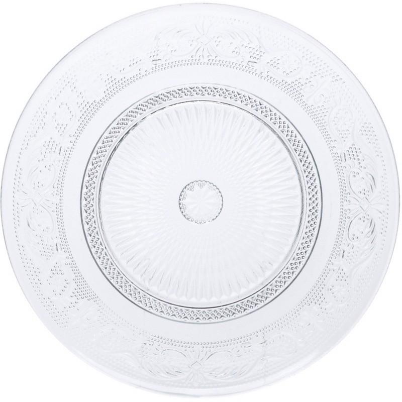 Prato de Sobremesa Redondo em Vidro Transparente 20cm - Coliseu