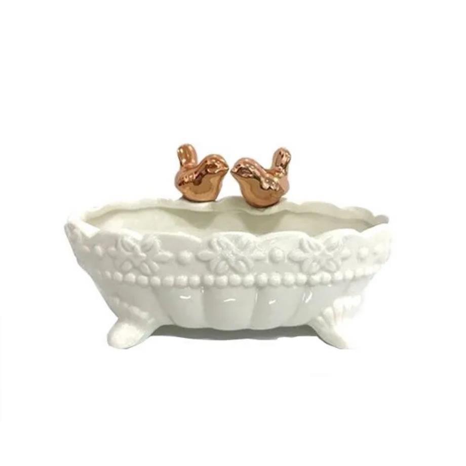 Porta-treco Porcelana 13cm Passarinhos - Bras Continental