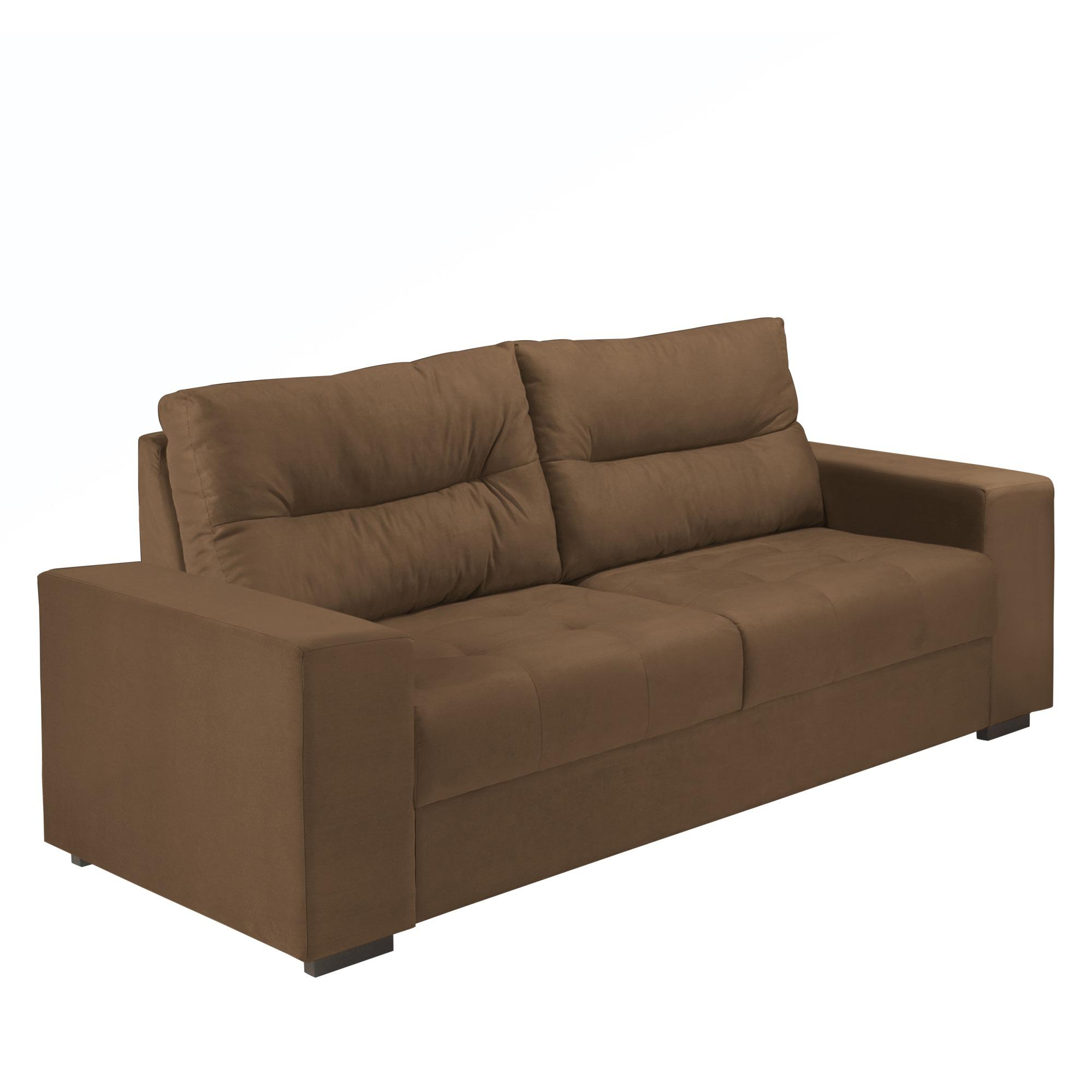 Sofa 3 Lugares Suede Marrom - Herval