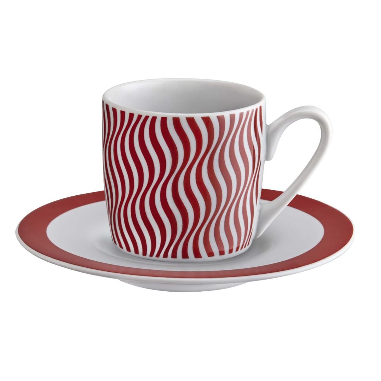 Jogo de Xicaras de Cafe com Pires Porcelana 6 Pecas XC-013 - Ricaelle