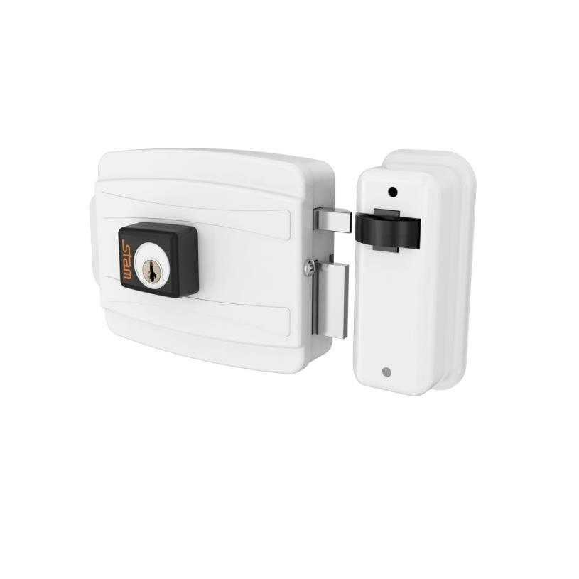 Fechadura Eletrica 40 mm Abertura para Dentro 12V Branca - Stam Met